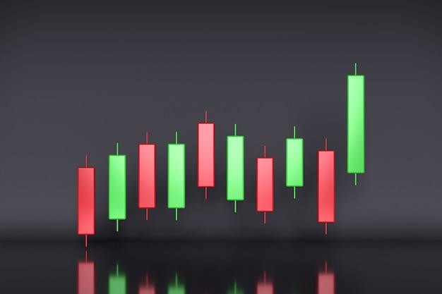 Wzrost biznesu i inwestycji z wykresem świecowym w renderowaniu 3d w tle