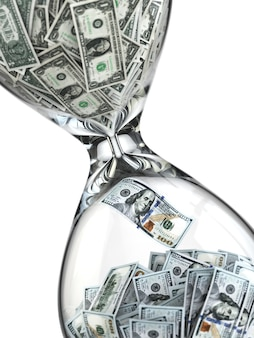 Wzrost dolara klepsydra z banknotami dolarowymi