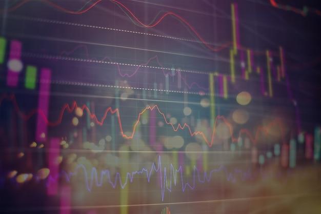 Wzrost gospodarczy, recesja. elektroniczna platforma wirtualna pokazująca trendy i wahania na giełdzie, analiza danych z wykresów i wykresów w celu ustalenia wyniku.
