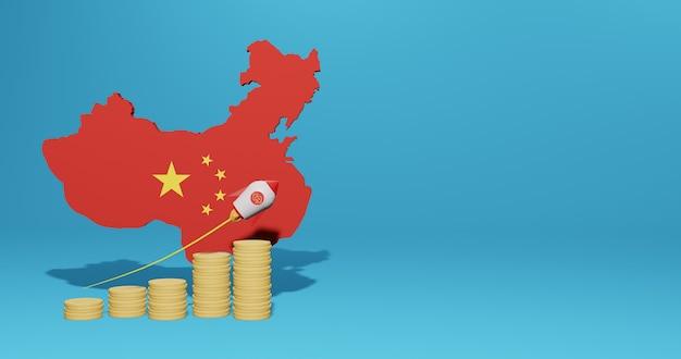 Wzrost gospodarczy w chinach w zakresie infografik i treści w mediach społecznościowych w renderowaniu 3d