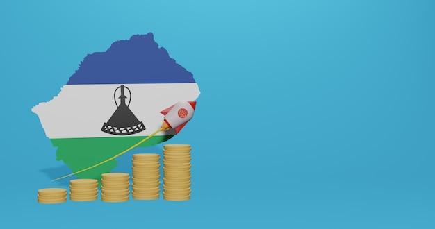 Wzrost gospodarczy w kraju lesotho w zakresie infografik i treści w mediach społecznościowych w renderowaniu 3d