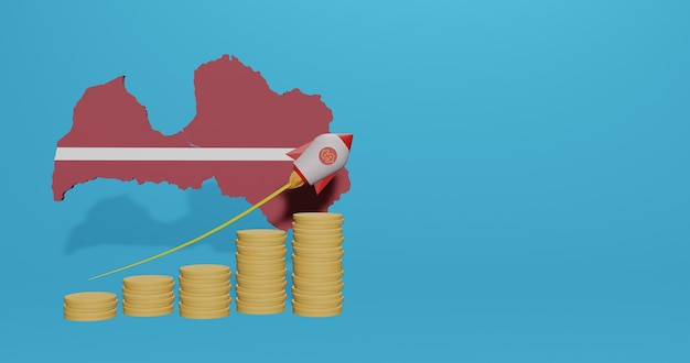 Wzrost gospodarczy w kraju łotwy w zakresie infografik i treści w mediach społecznościowych w renderowaniu 3d