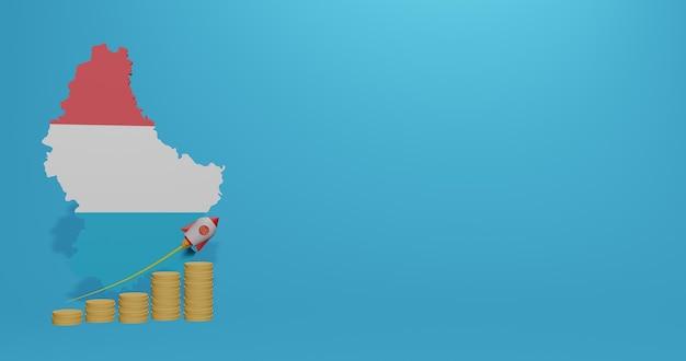 Wzrost gospodarczy w luksemburgu w zakresie infografik i treści w mediach społecznościowych w renderowaniu 3d