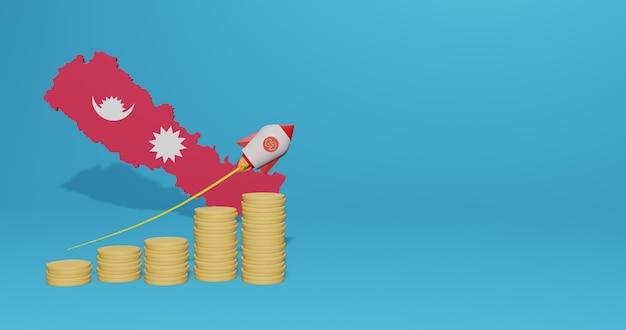 Wzrost gospodarczy w nepalu na potrzeby telewizji mediów społecznościowych i tła strony internetowej można wykorzystać puste miejsce do wyświetlania danych lub infografik w renderowaniu 3d
