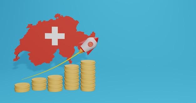 Wzrost gospodarczy w szwajcarii w zakresie infografik i treści w mediach społecznościowych w renderowaniu 3d