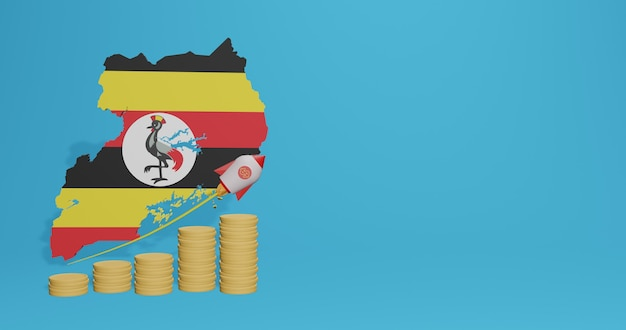 Wzrost gospodarczy w ugandzie na potrzeby telewizji mediów społecznościowych i tła strony internetowej puste miejsce może być wykorzystane do wyświetlania danych lub infografik w renderowaniu 3d