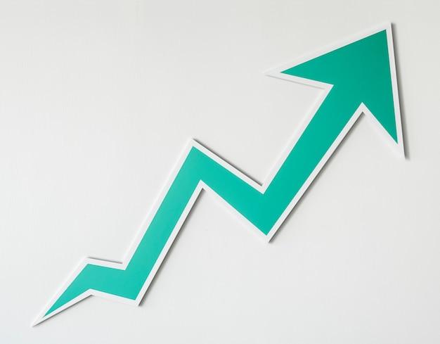 Wzrost ikona strzałki w górę na białym tle