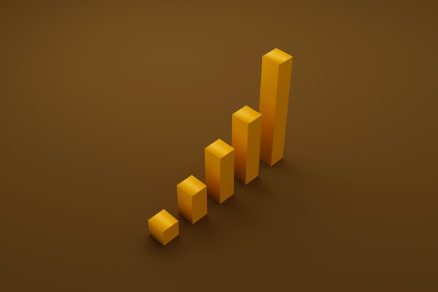 Wzrost słupka wykresu w górę po schodach. rozwój firmy do sukcesu i rosnącej koncepcji wzrostu. ilustracja 3d