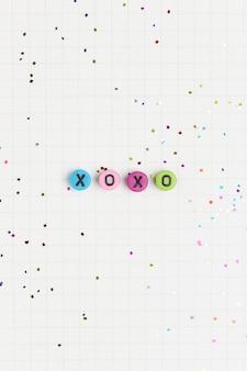 Xoxo alfabet koraliki list typografia
