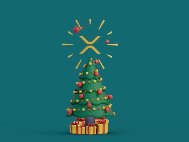 Xrp choinka ozdobna świąteczna kryptowaluta ilustracja 3d render