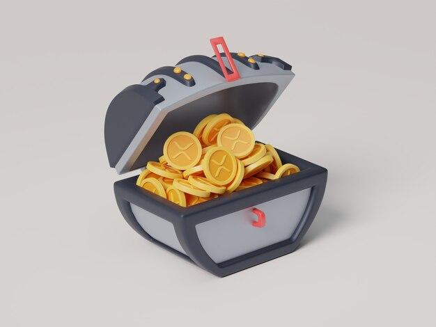 Xrp moneta otwarta skrzynia skarbów kreskówka kryptowaluta ilustracja 3d render