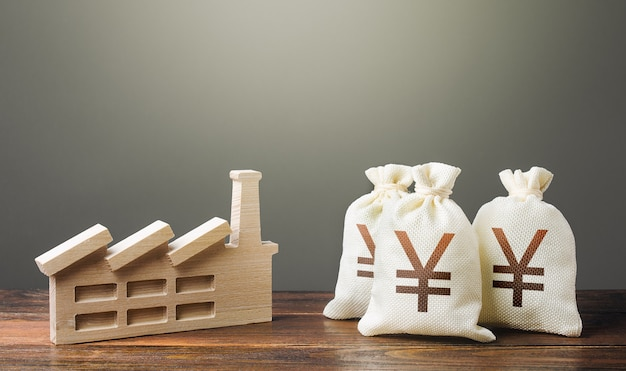 Yen yuan worki pieniędzy i fabryka przemysłowa. prywatyzacja i zakup kompleksów przemysłowych