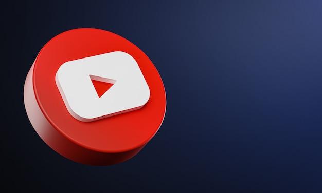 Youtube circle button icon 3d z kopią miejsca
