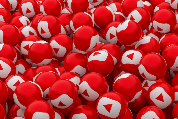 Youtube emoji społecznościowy 3d renderowania tła, symbol mediów społecznych balon