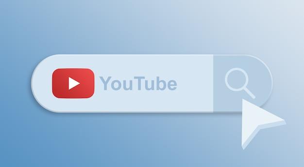 Youtube na pasku wyszukiwania z kursorem myszy 3d