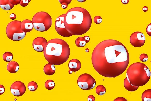 Youtube reakcje emoji renderowania 3d, symbol balon mediów społecznościowych z wzorem ikony youtube