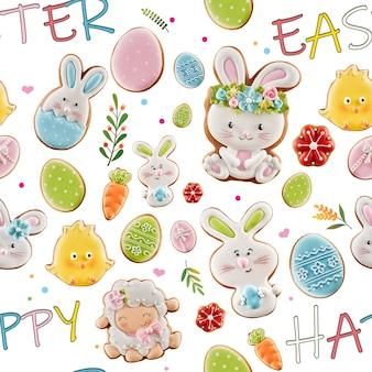 Z góry widok na glazurowane imbirowe ciasteczka i kolorowe napisy na białym tle. zbliżenie na pyszne domowe ciasto w kształcie uroczych zwierząt wielkanocnych, jajek, kwiatów i marchwi.