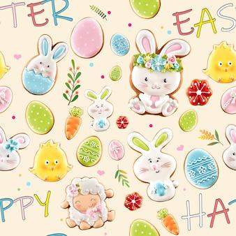 Z góry widok na glazurowane imbirowe ciasteczka i kolorowe napisy na kremowym tle. zbliżenie na pyszne domowe ciasto w kształcie uroczych zwierząt wielkanocnych, jajek, kwiatów i marchwi.