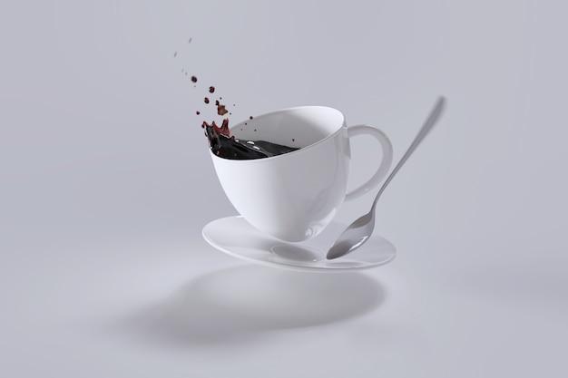 Z kubka wylała się gorąca kawa.