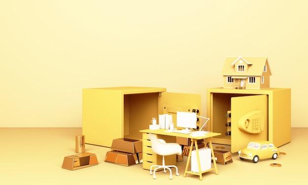 Z myślą o domu, samochodzie i pracy z otwartym sejfem i sztabką złota w żółtym pastelowym kolorze