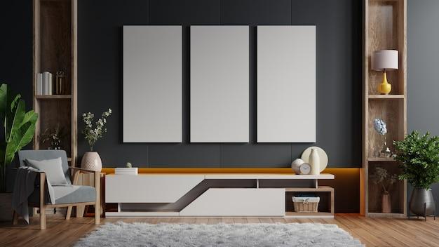 Z pionowymi ramkami na pustej ciemnej drewnianej ścianie we wnętrzu salonu z szafką. renderowanie 3d