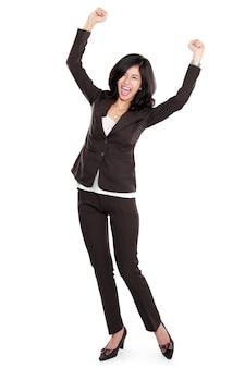 Z podnieceniem szczęśliwa azjatykcia biznesowa kobieta