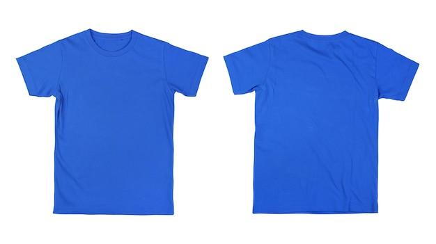 Z przodu iz tyłu niebieska koszulka na białym tle