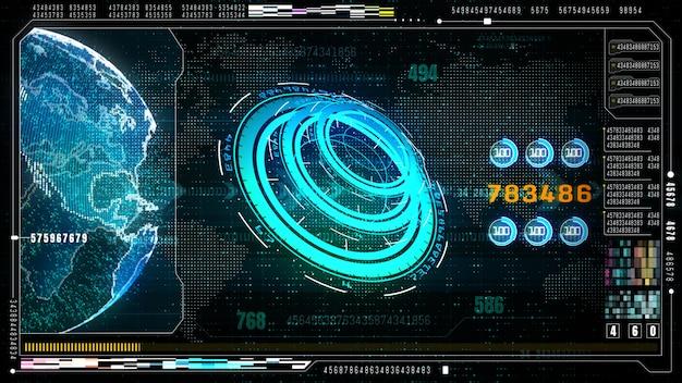 Zaawansowany technologicznie futurystyczny interfejs użytkownika z wyświetlaczem do góry z cyfrowym wyświetlaczem danych i informacji dla urządzeń cyfrowych.
