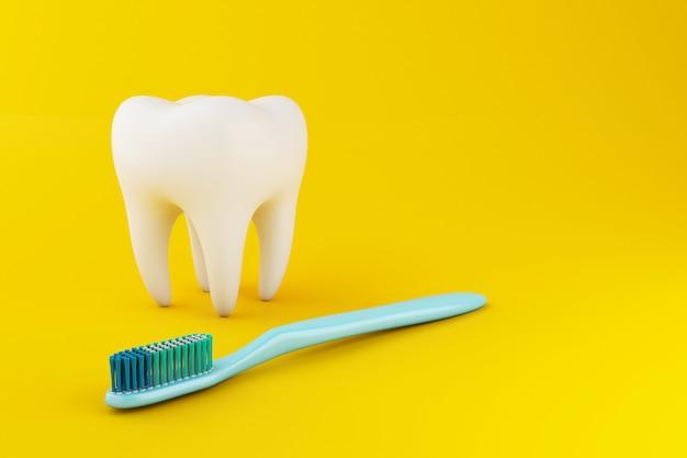 Ząb 3d ze szczoteczką do zębów