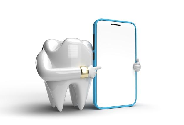 Ząb dentystyczny z pustym ekranem mobilne narzędzie do makiety utworzono ścieżkę przycinania zawartą w formacie jpeg łatwe w komponowaniu.