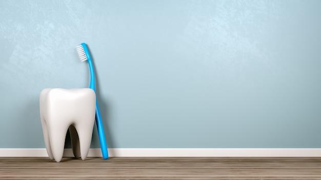 Ząb i szczoteczka do zębów w pokoju