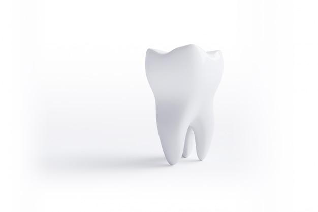 Ząb na białym tle na białym tle ze ścieżką przycinającą. ilustracja renderowania 3d