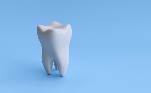 Ząb na białym tle na niebieskim tle ze ścieżką przycinającą. ilustracja renderowania 3d