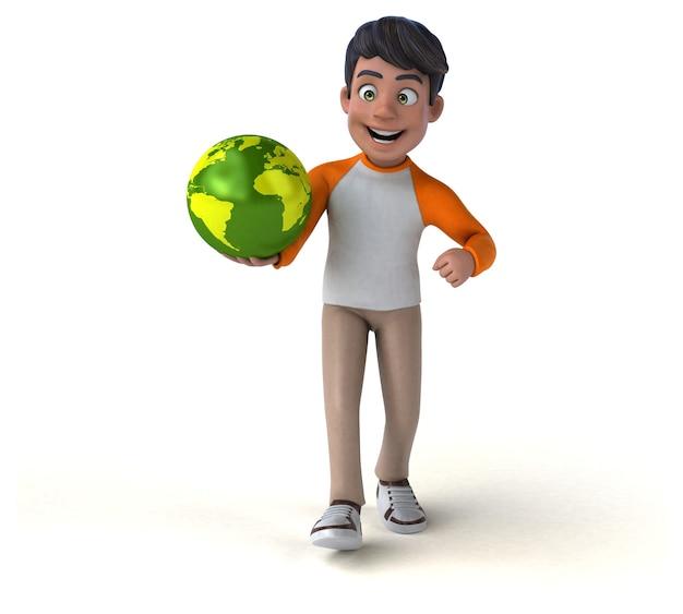Zabawa 3d Cartoon Nastolatek Azji Premium Zdjęcia