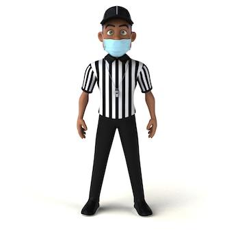 Zabawa 3d ilustracja czarnego sędziego z maską