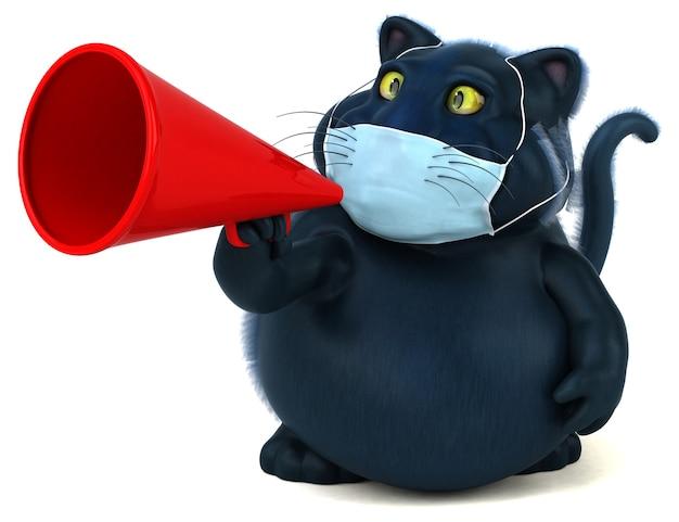 Zabawa 3d ilustracja kota z maską