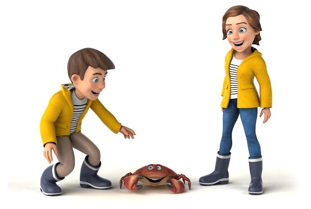 Zabawa 3d ilustracja kreskówek dla dzieci z kraba