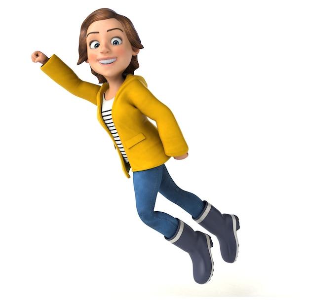 Zabawa 3d ilustracja kreskówka nastolatka z biegiem deszcz