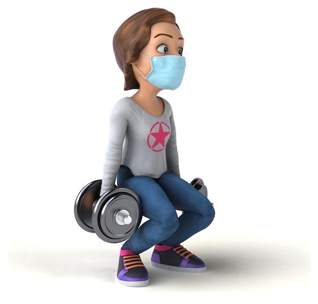 Zabawa 3d ilustracja kreskówka nastolatka z maską
