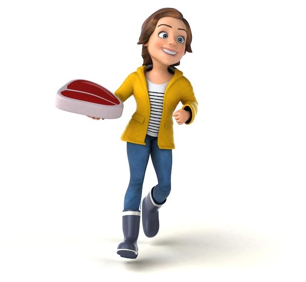 Zabawa 3d ilustracją nastoletniej dziewczyny kreskówki