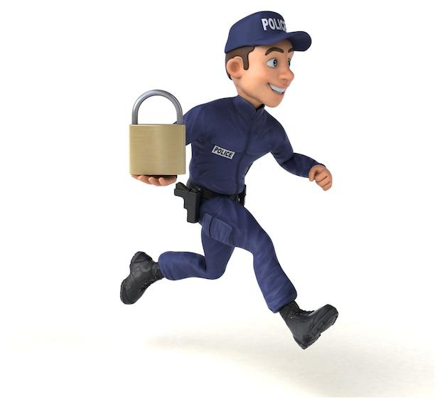 Zabawa 3d ilustracją policjanta kreskówek