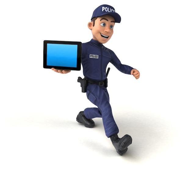 Zabawa 3d ilustracja policjanta kreskówek