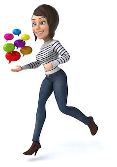 Zabawa 3d postać z kreskówki dorywcza kobieta