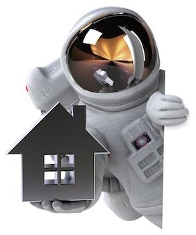 Zabawa astronauta - ilustracja 3d