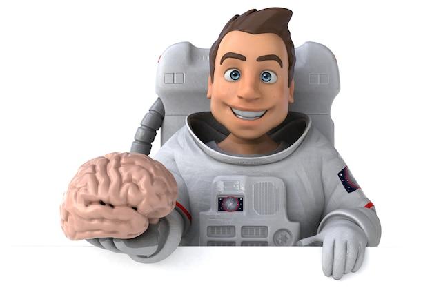 Zabawa Astronauta - Ilustracja 3d Premium Zdjęcia