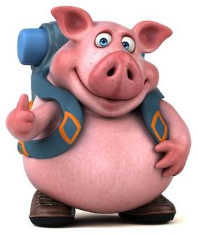 Zabawa backpacker świnia postać z kreskówki