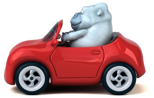 Zabawa biały goryl - 3d ilustracja