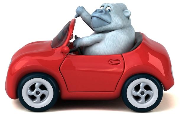 Zabawa biały goryl - ilustracja 3d