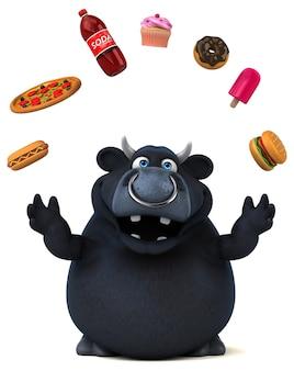 Zabawa czarnego byka - ilustracja 3d