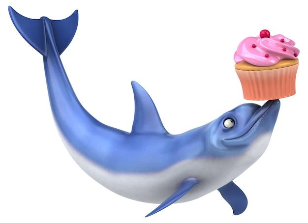 Zabawa delfina - ilustracja 3d
